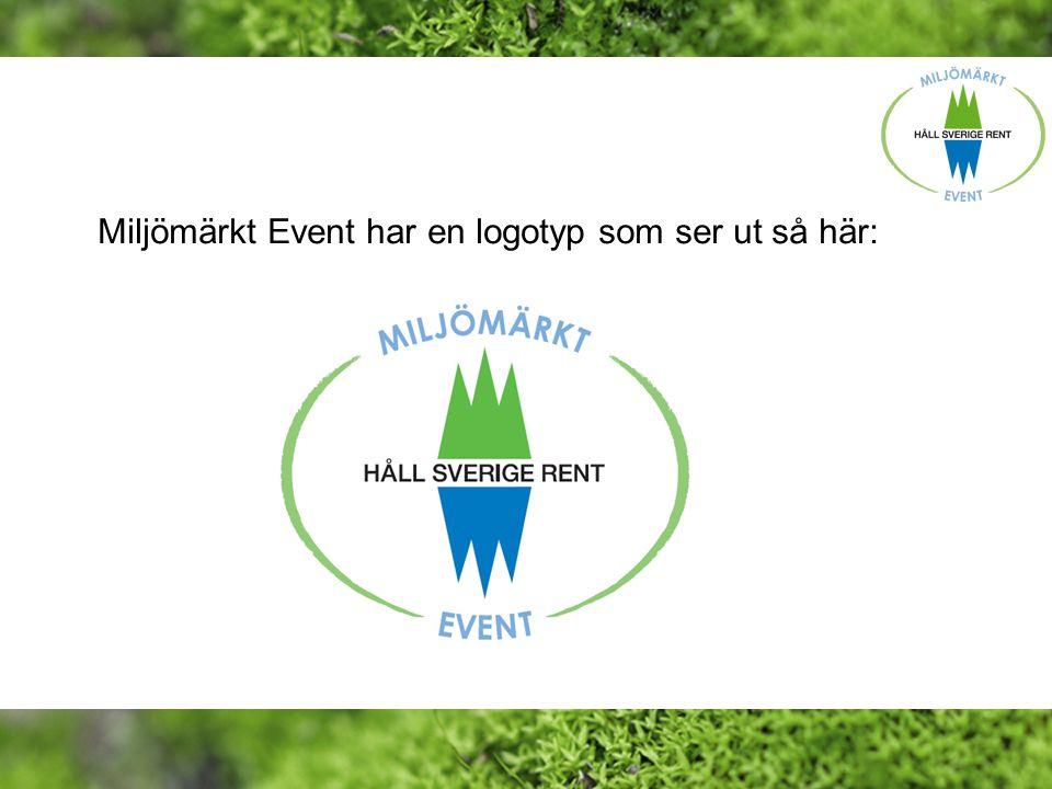 Miljömärkt Event har en logotyp som ser ut så här: