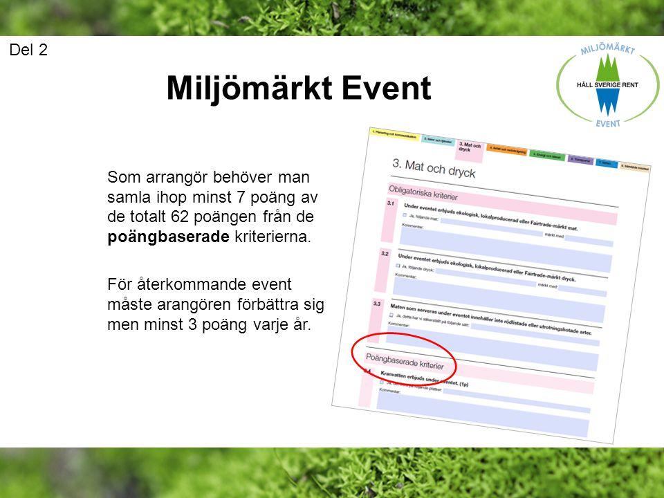 Del 2 Miljömärkt Event. Som arrangör behöver man samla ihop minst 7 poäng av de totalt 62 poängen från de poängbaserade kriterierna.