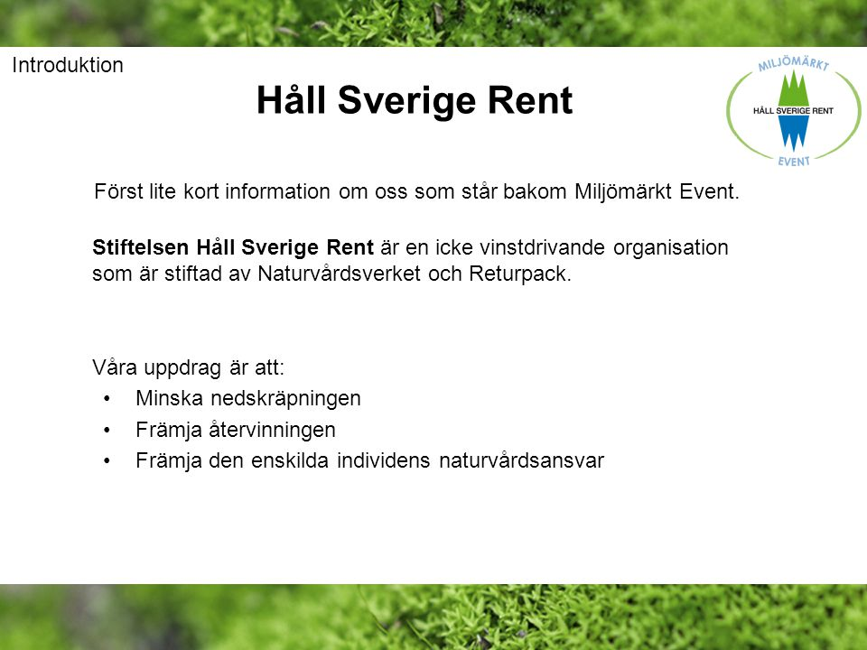 Håll Sverige Rent Introduktion