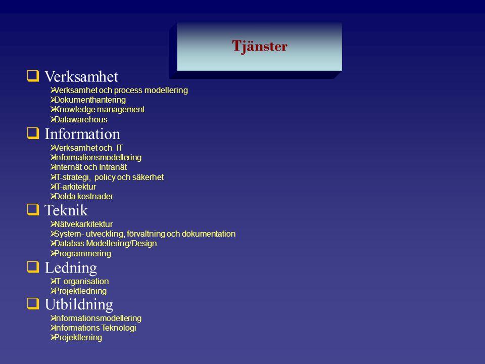 Tjänster Verksamhet Information Teknik Ledning Utbildning