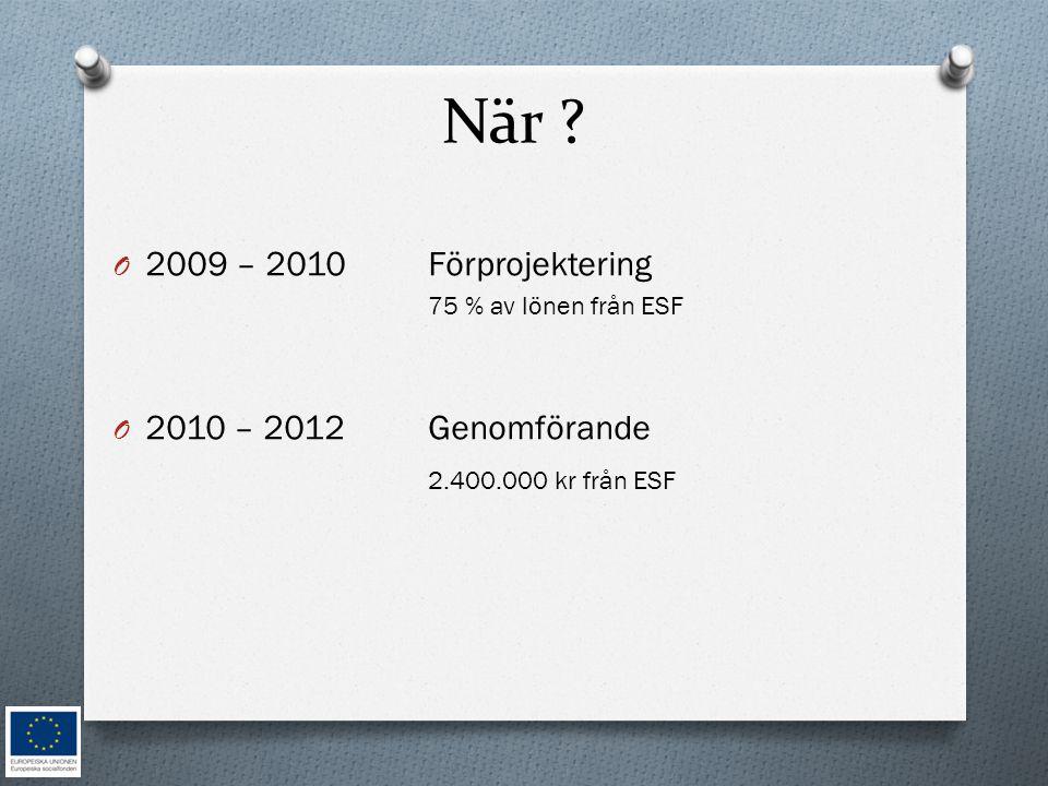 När 2009 – 2010 Förprojektering 2010 – 2012 Genomförande