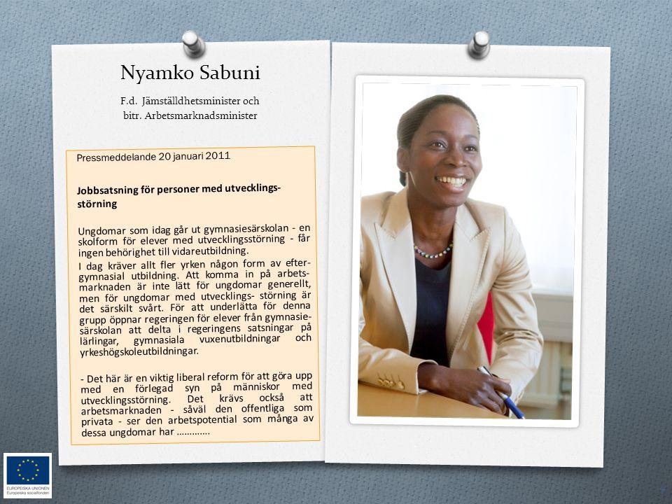 Nyamko Sabuni F. d. Jämställdhetsminister och bitr