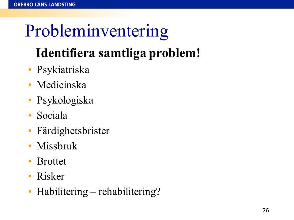 Probleminventering Psykiatriska Medicinska Psykologiska Sociala