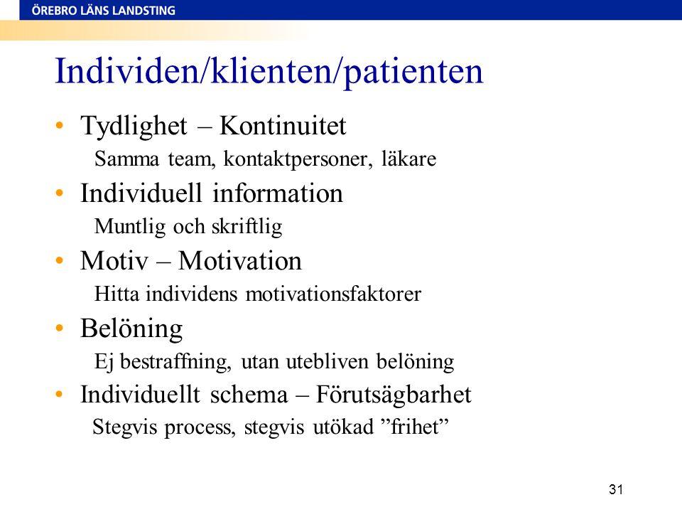 Individen/klienten/patienten