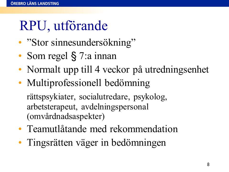 RPU, utförande Stor sinnesundersökning Som regel § 7:a innan