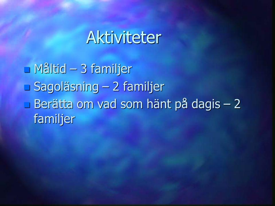 Aktiviteter Måltid – 3 familjer Sagoläsning – 2 familjer