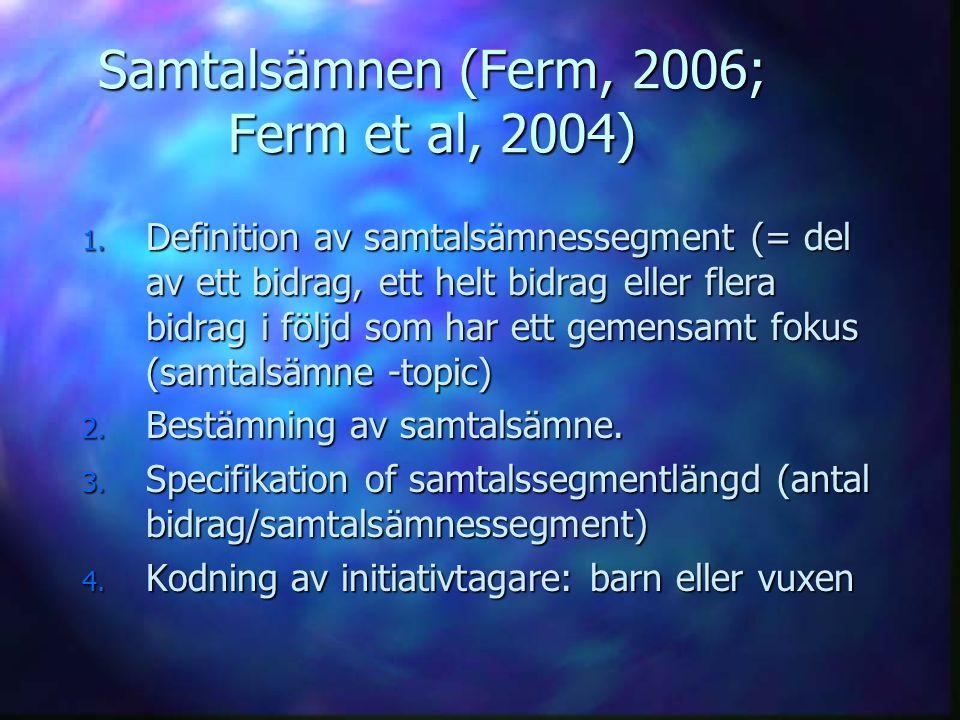 Samtalsämnen (Ferm, 2006; Ferm et al, 2004)