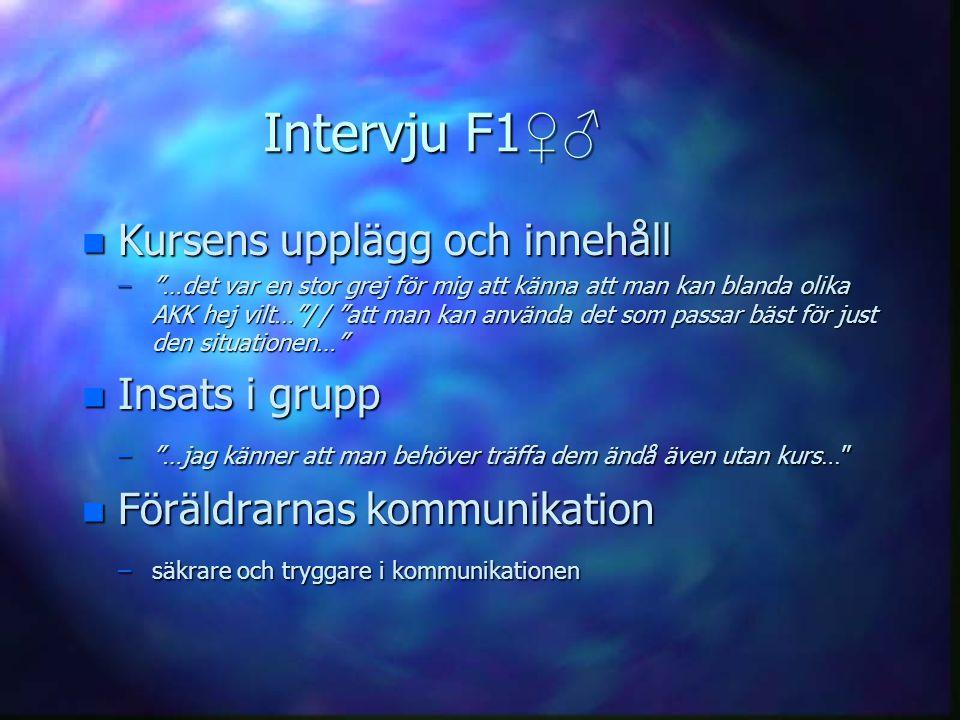 Intervju F1♀♂ Kursens upplägg och innehåll Insats i grupp