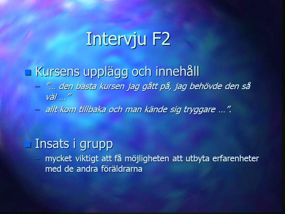 Intervju F2 Kursens upplägg och innehåll Insats i grupp