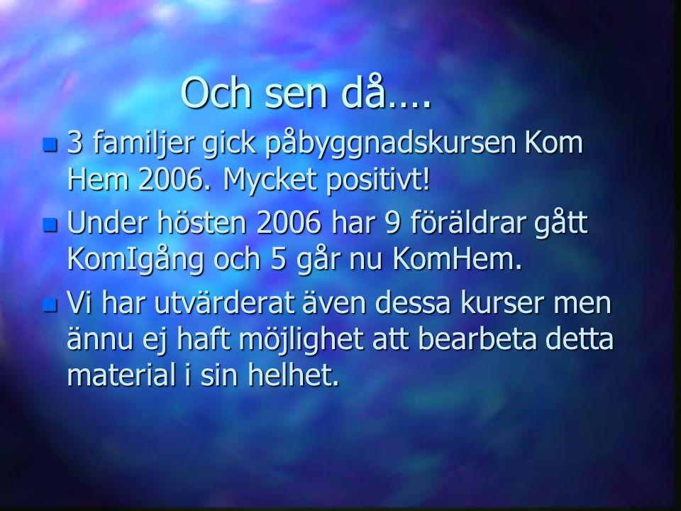 Och sen då…. 3 familjer gick påbyggnadskursen Kom Hem 2006. Mycket positivt! Under hösten 2006 har 9 föräldrar gått KomIgång och 5 går nu KomHem.