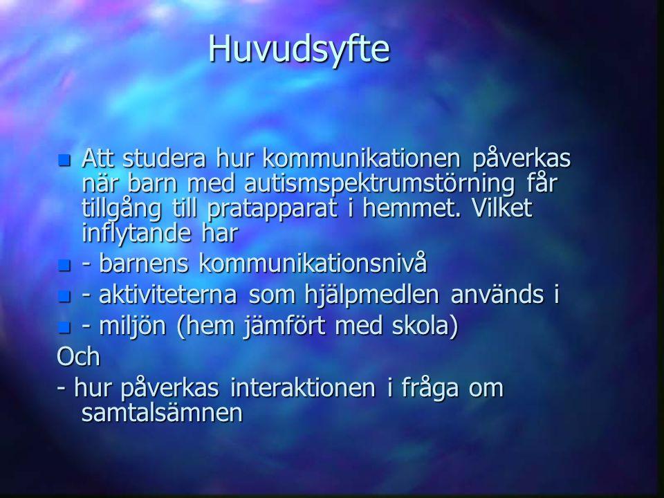 Huvudsyfte Att studera hur kommunikationen påverkas när barn med autismspektrumstörning får tillgång till pratapparat i hemmet. Vilket inflytande har.