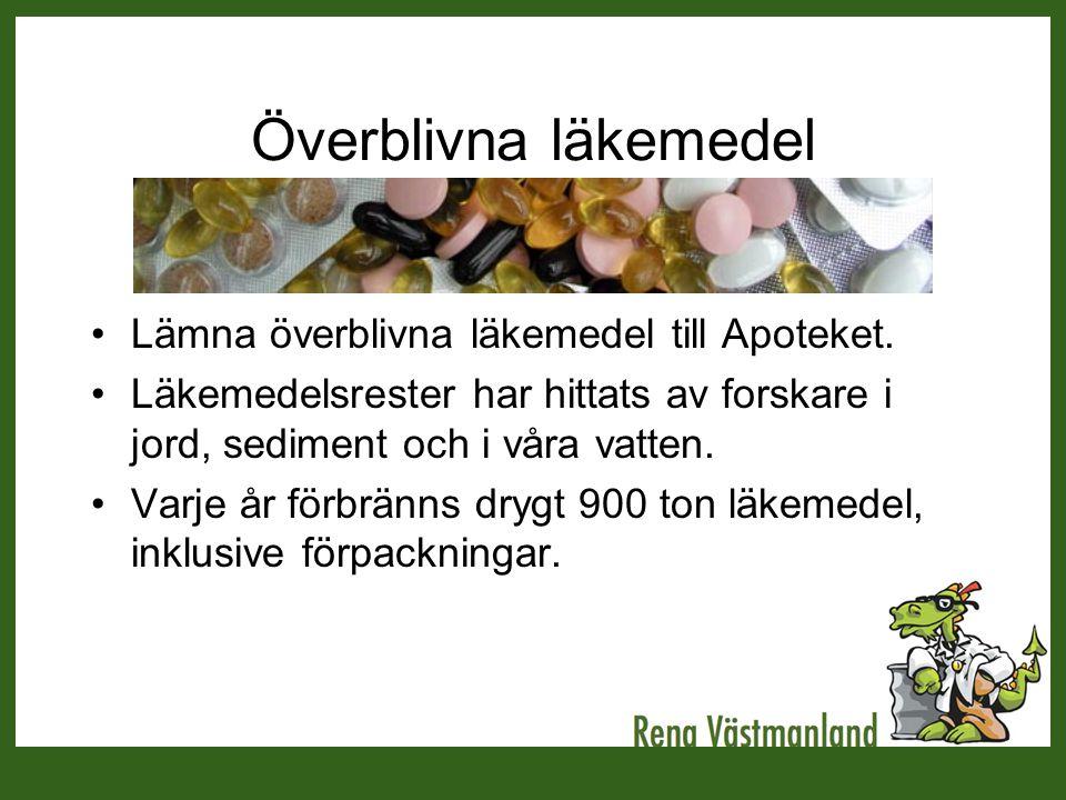 Överblivna läkemedel Lämna överblivna läkemedel till Apoteket.