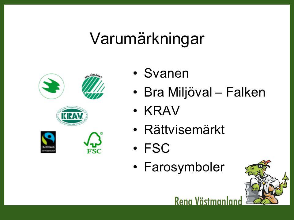 Varumärkningar Svanen Bra Miljöval – Falken KRAV Rättvisemärkt FSC