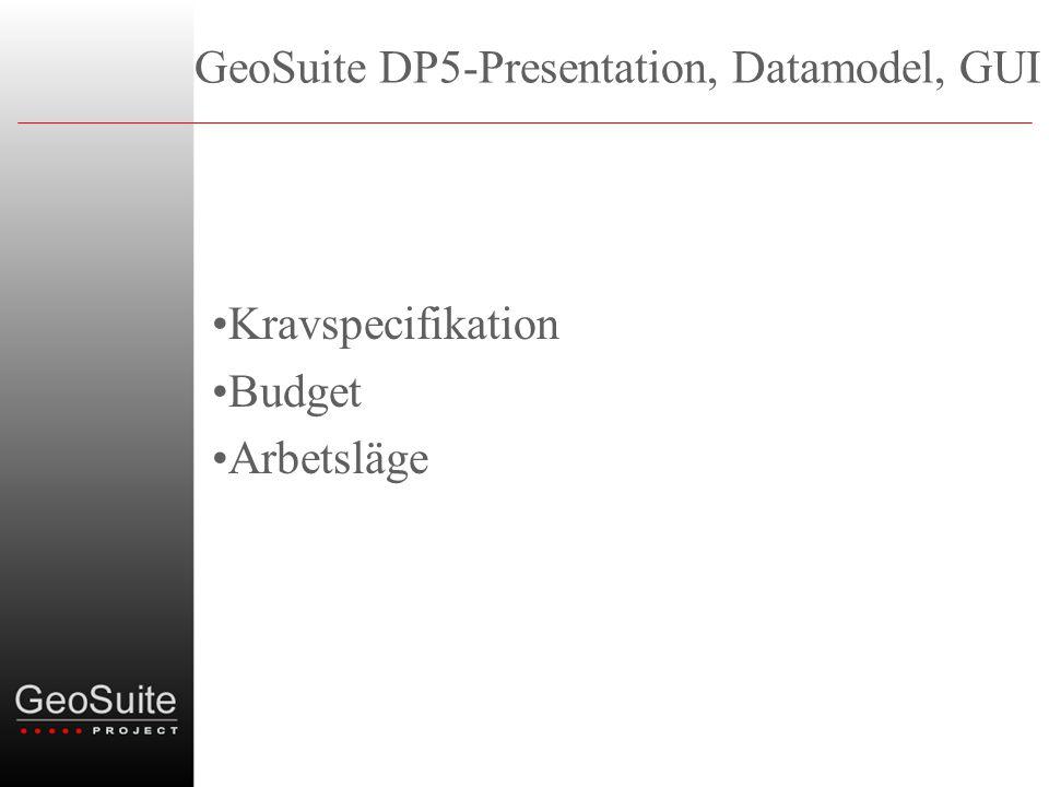 GeoSuite DP5-Presentation, Datamodel, GUI