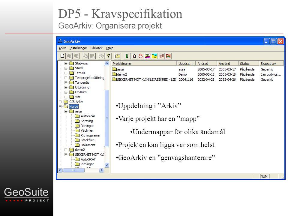 DP5 - Kravspecifikation GeoArkiv: Organisera projekt