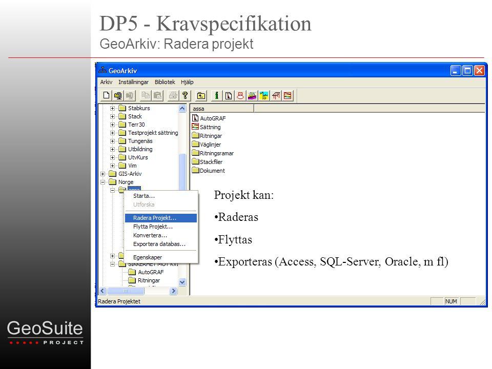DP5 - Kravspecifikation GeoArkiv: Radera projekt