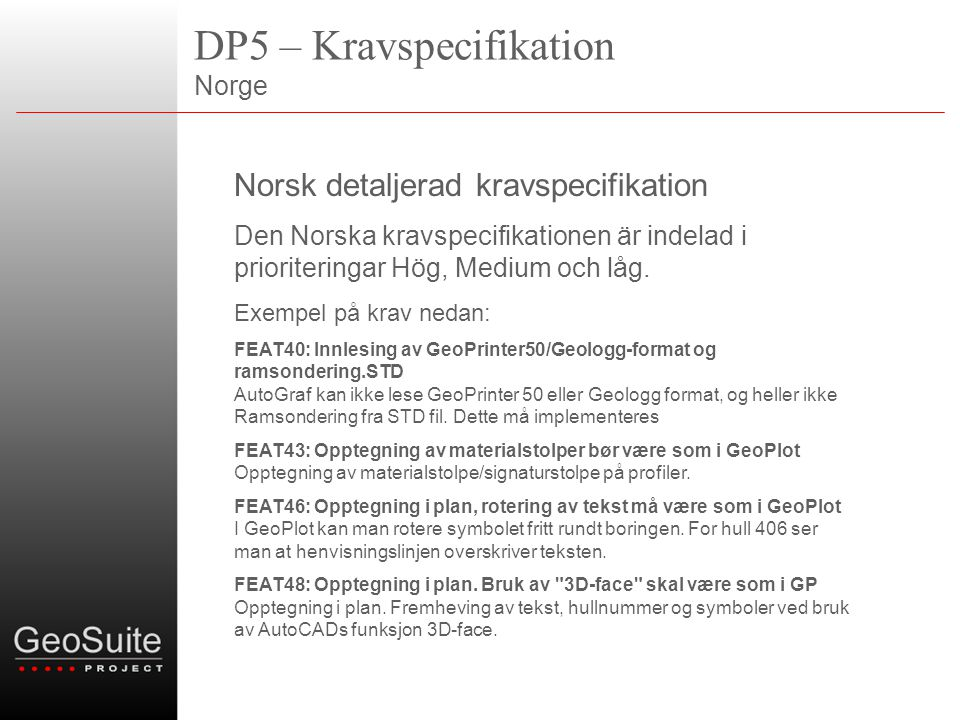 DP5 – Kravspecifikation Norge
