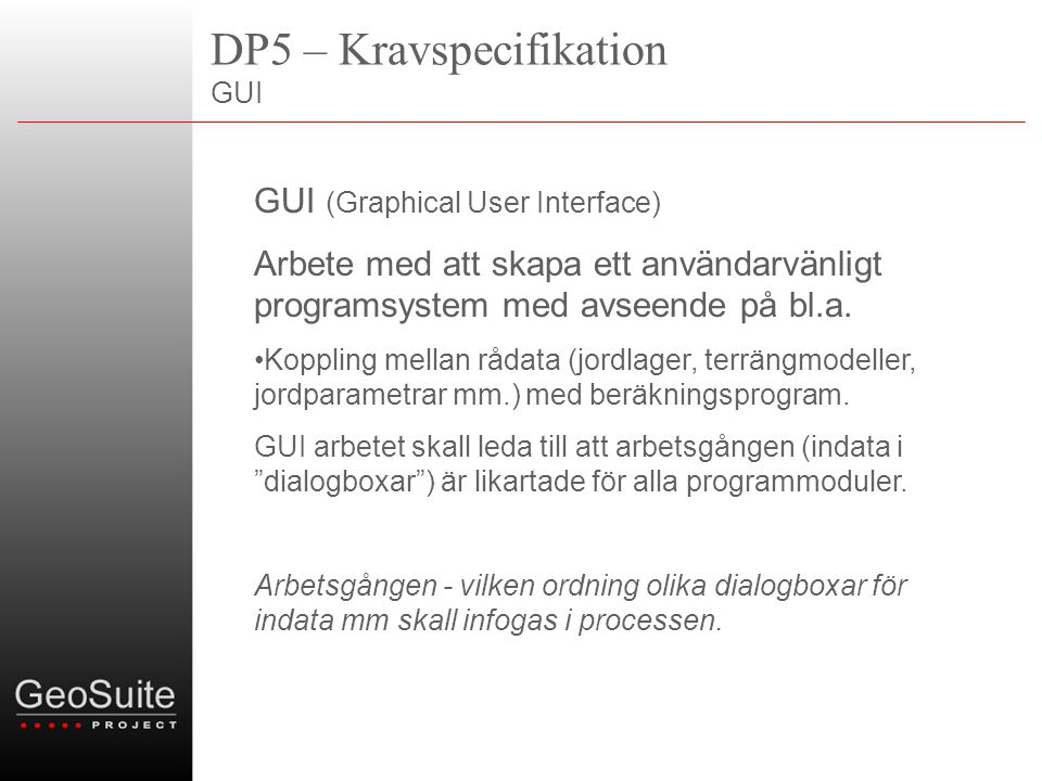 DP5 – Kravspecifikation GUI