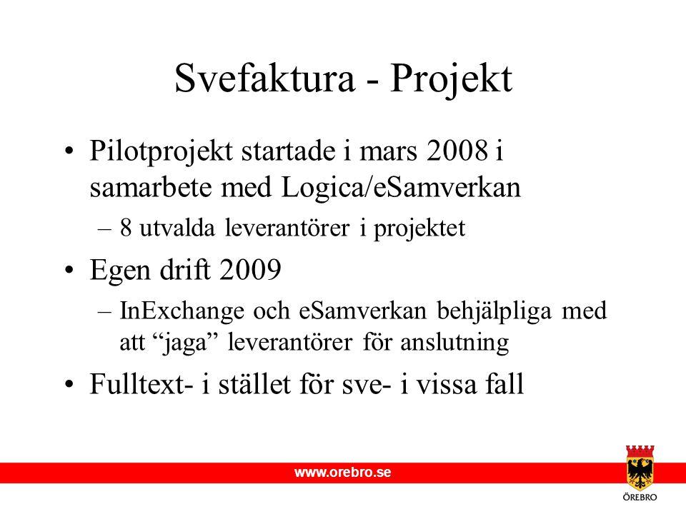 Svefaktura - Projekt Pilotprojekt startade i mars 2008 i samarbete med Logica/eSamverkan. 8 utvalda leverantörer i projektet.
