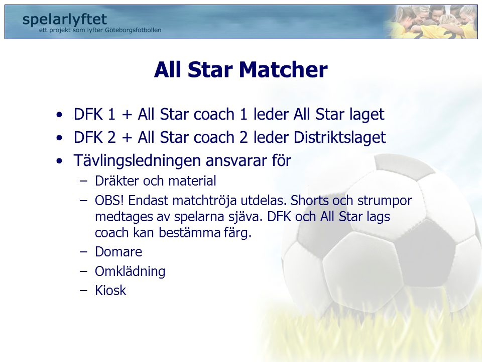 All Star Matcher DFK 1 + All Star coach 1 leder All Star laget