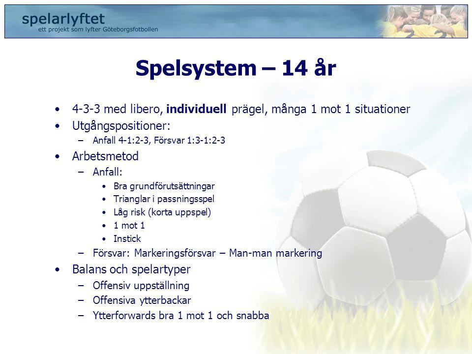 Spelsystem – 14 år 4-3-3 med libero, individuell prägel, många 1 mot 1 situationer. Utgångspositioner: