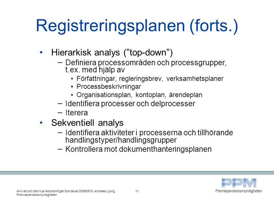 Registreringsplanen (forts.)