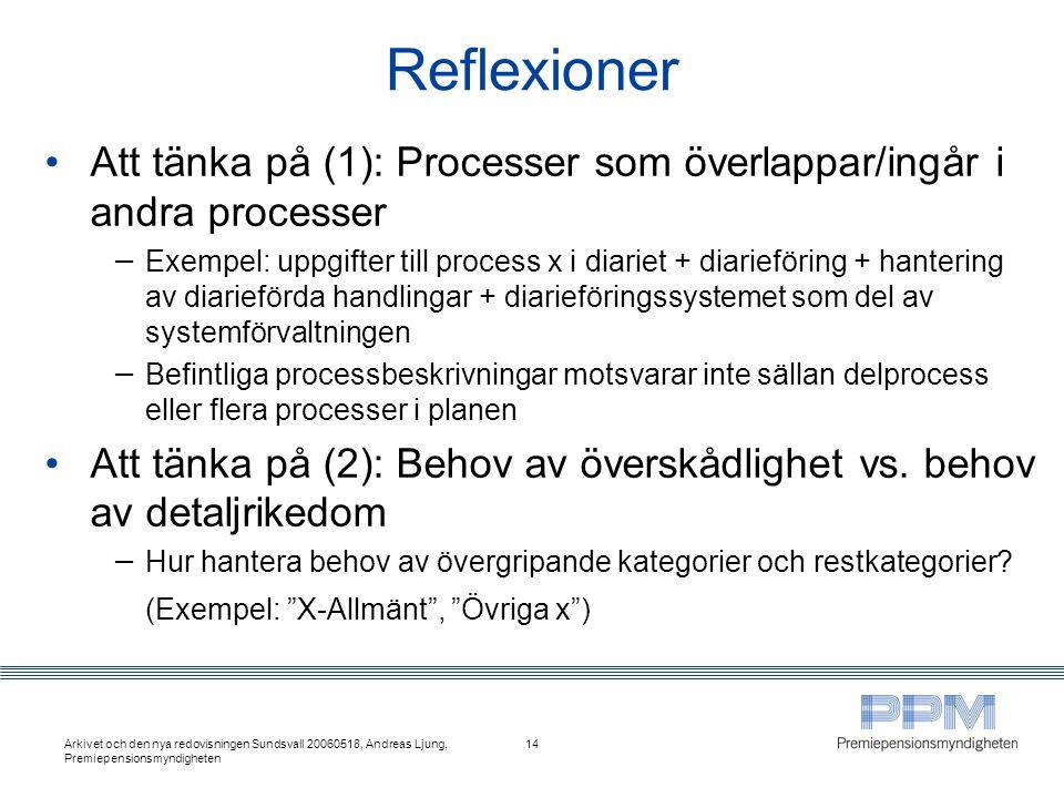 Reflexioner Att tänka på (1): Processer som överlappar/ingår i andra processer.