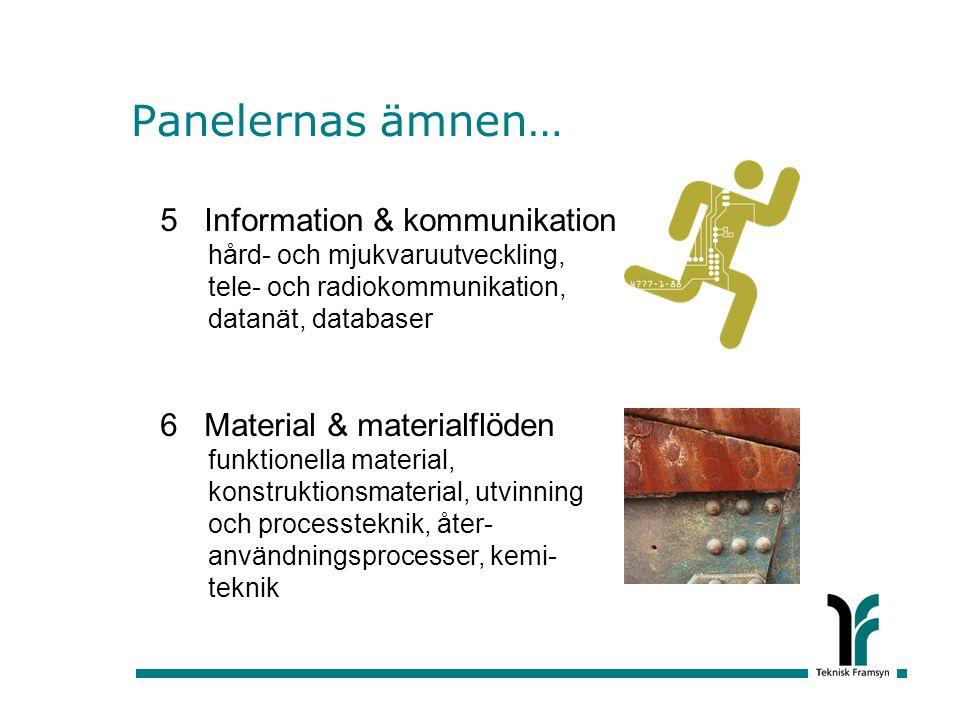 Panelernas ämnen… 5 Information & kommunikation hård- och mjukvaruutveckling, tele- och radiokommunikation, datanät, databaser.