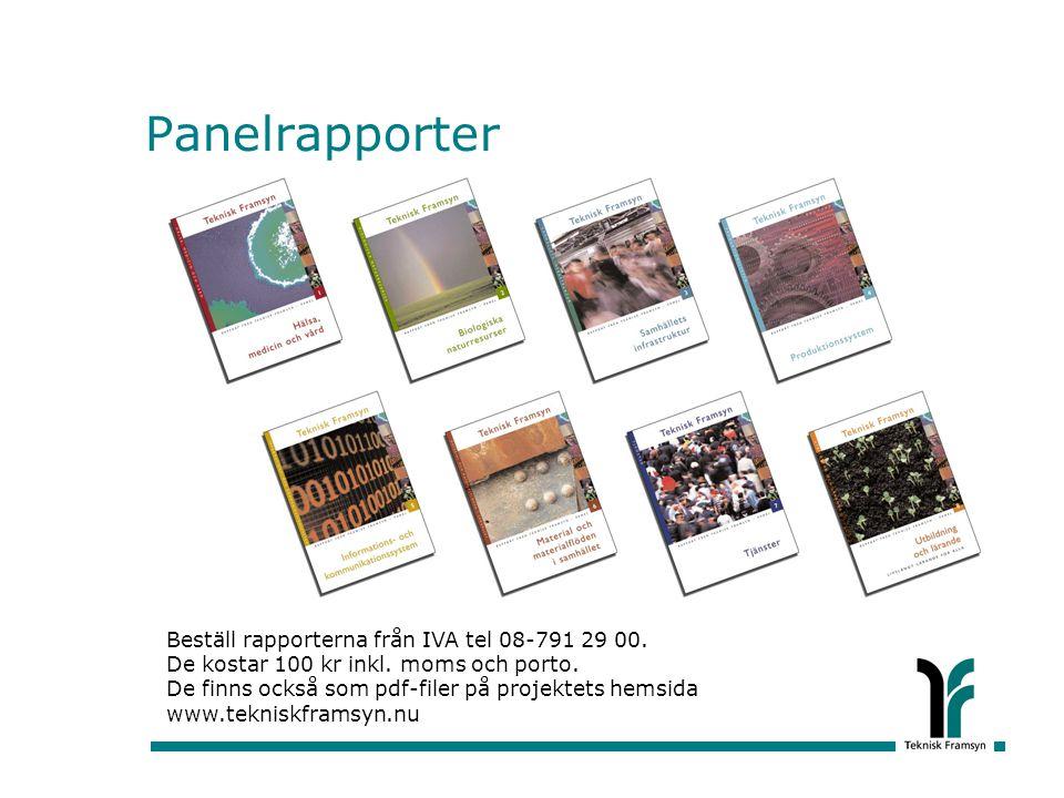 Panelrapporter Beställ rapporterna från IVA tel 08-791 29 00. De kostar 100 kr inkl. moms och porto.