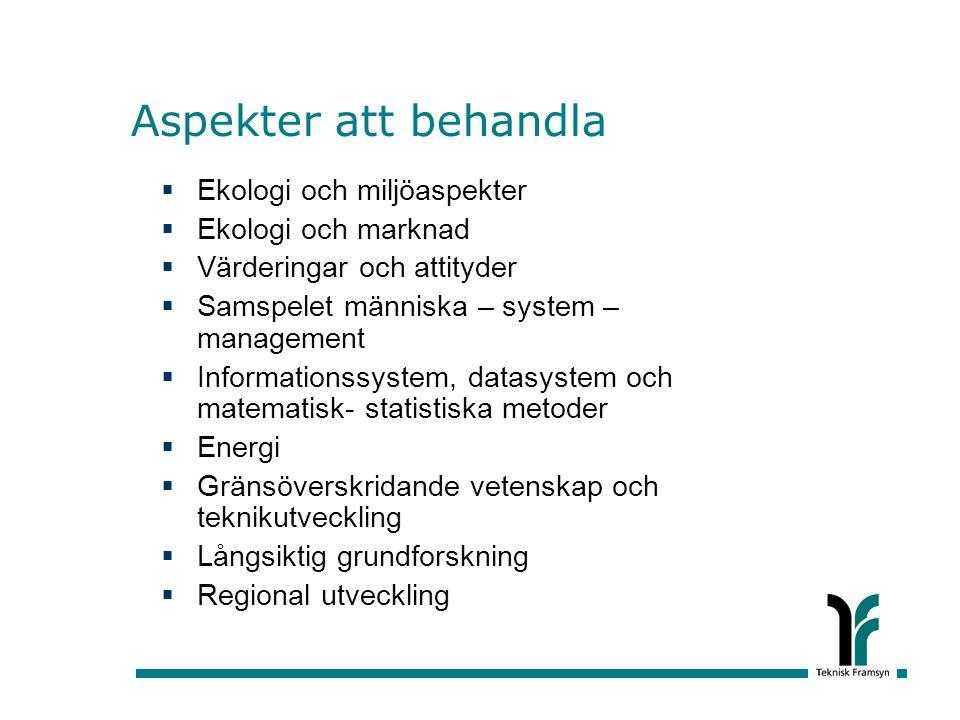 Aspekter att behandla Ekologi och miljöaspekter Ekologi och marknad