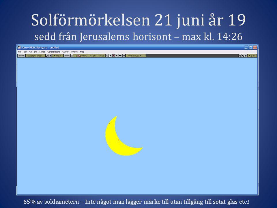 Solförmörkelsen 21 juni år 19 sedd från Jerusalems horisont – max kl