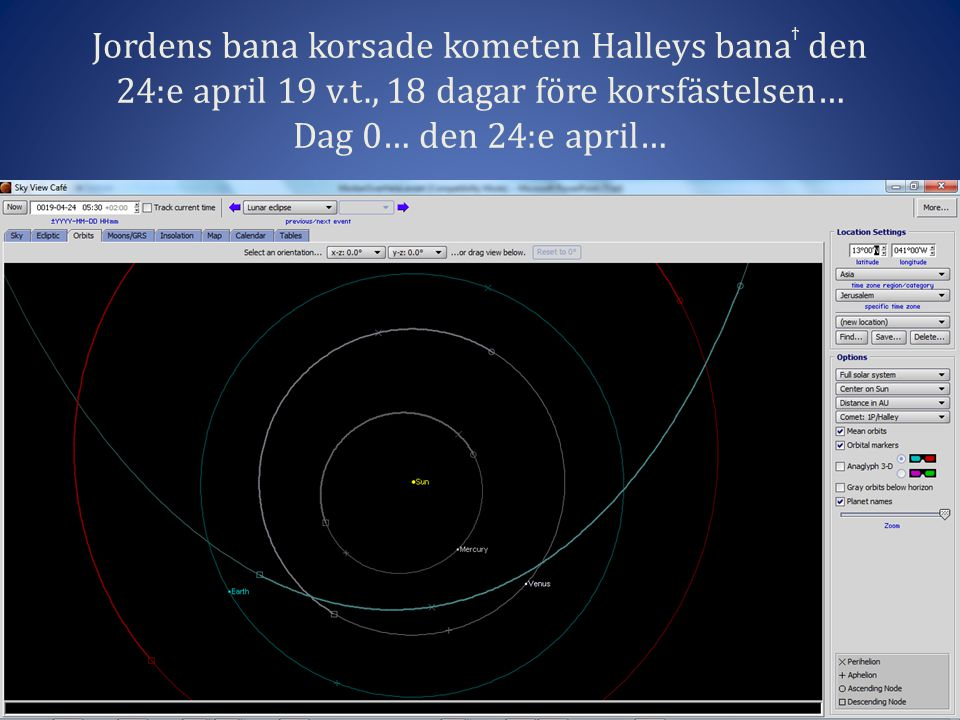 Jordens bana korsade kometen Halleys banaϯ den 24:e april 19 v. t