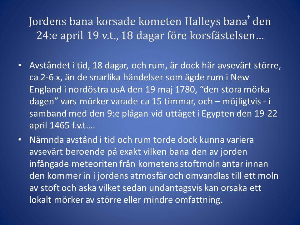 Jordens bana korsade kometen Halleys banaϯ den 24:e april 19 v. t