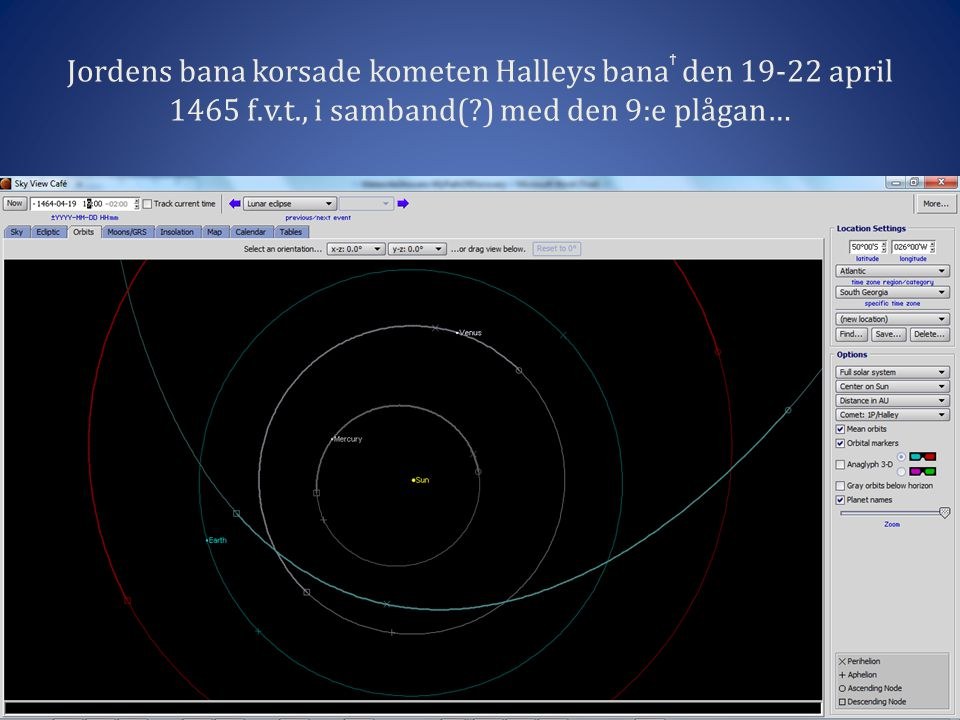 Jordens bana korsade kometen Halleys banaϯ den 19-22 april 1465 f.v.t., i samband( ) med den 9:e plågan…