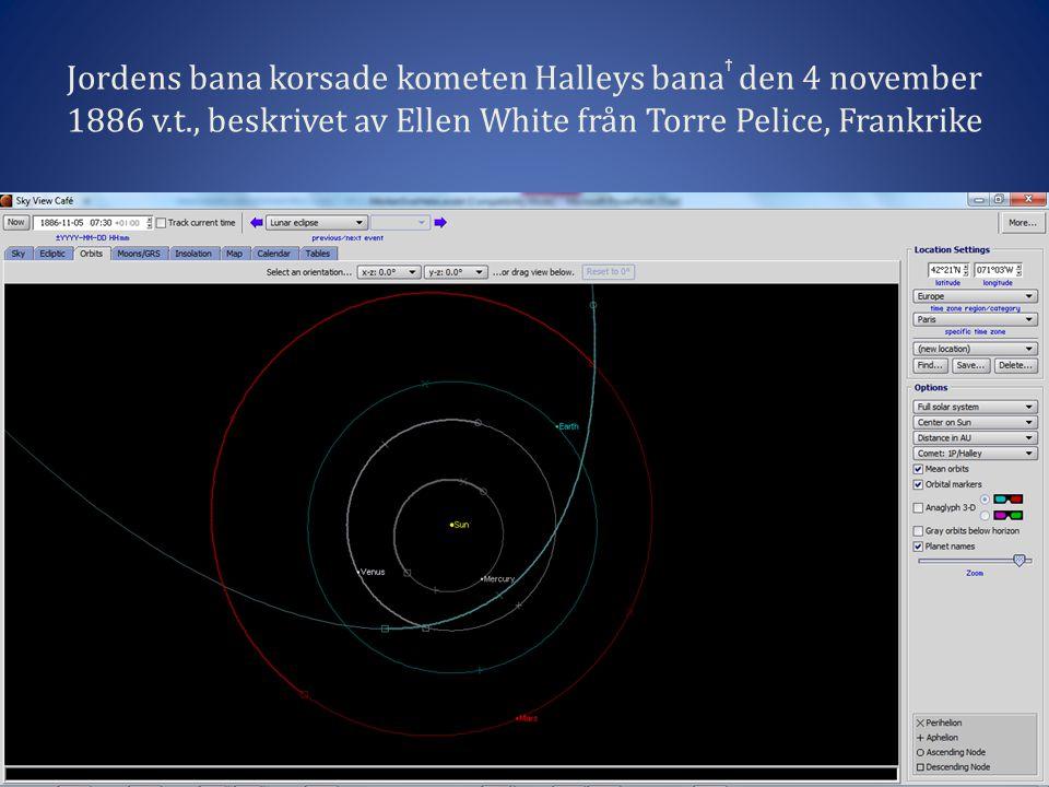 Jordens bana korsade kometen Halleys banaϯ den 4 november 1886 v. t