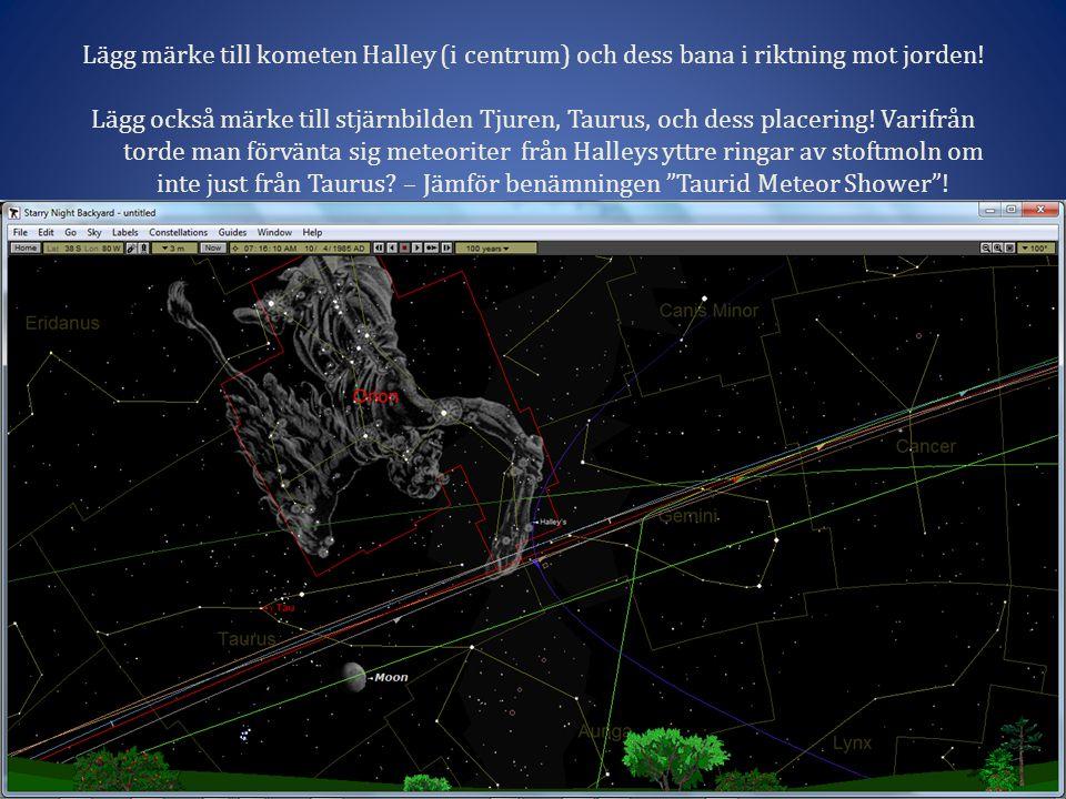 Lägg märke till kometen Halley (i centrum) och dess bana i riktning mot jorden!