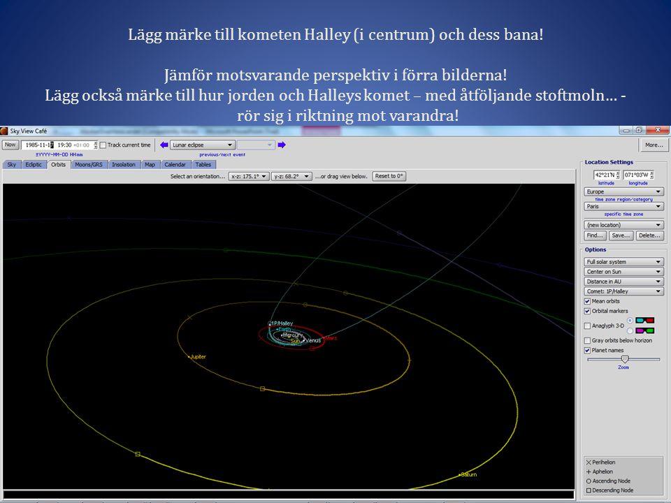 Lägg märke till kometen Halley (i centrum) och dess bana!