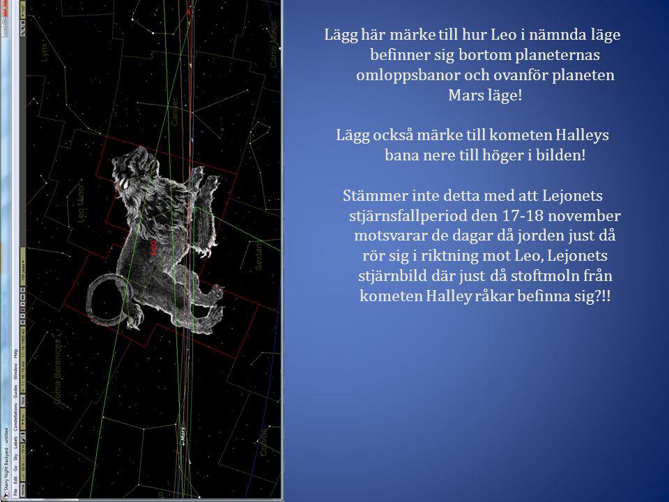 Lägg också märke till kometen Halleys bana nere till höger i bilden!