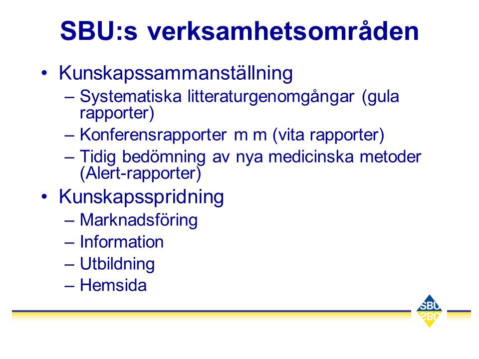 SBU:s verksamhetsområden
