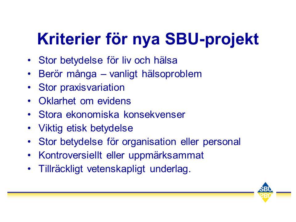 Kriterier för nya SBU-projekt