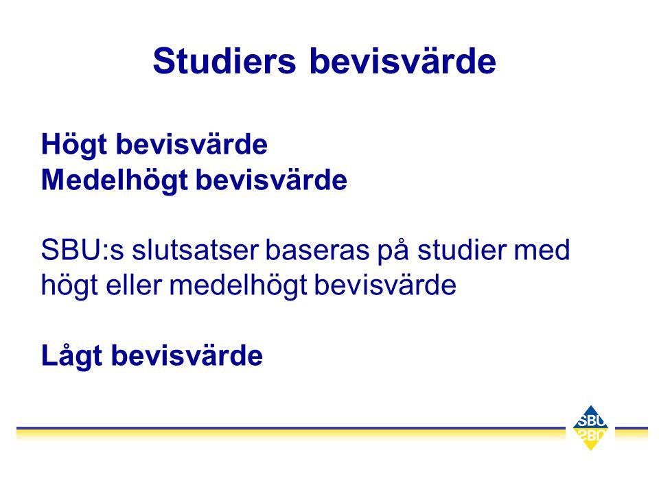Studiers bevisvärde Högt bevisvärde Medelhögt bevisvärde