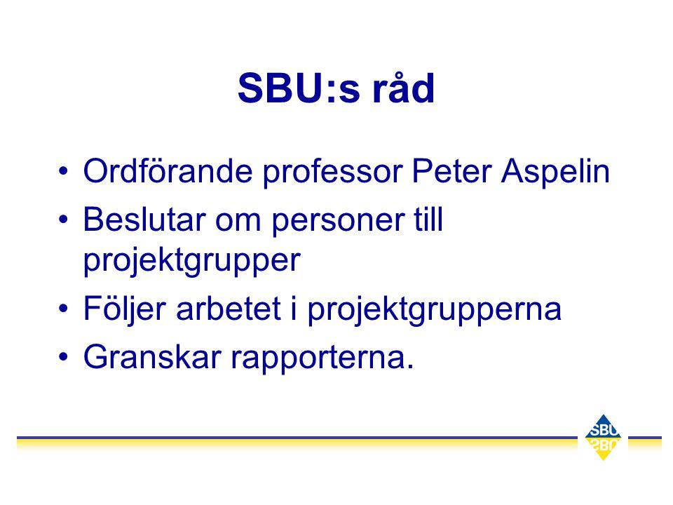 SBU:s råd Ordförande professor Peter Aspelin