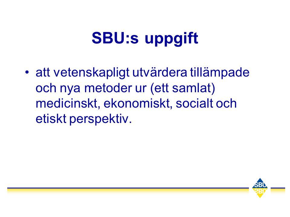 SBU:s uppgift att vetenskapligt utvärdera tillämpade och nya metoder ur (ett samlat) medicinskt, ekonomiskt, socialt och etiskt perspektiv.