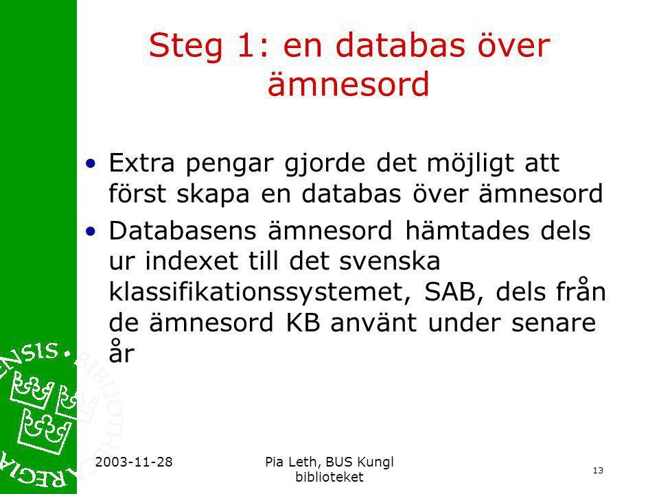Steg 1: en databas över ämnesord