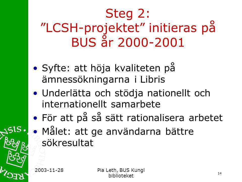 Steg 2: LCSH-projektet initieras på BUS år 2000-2001