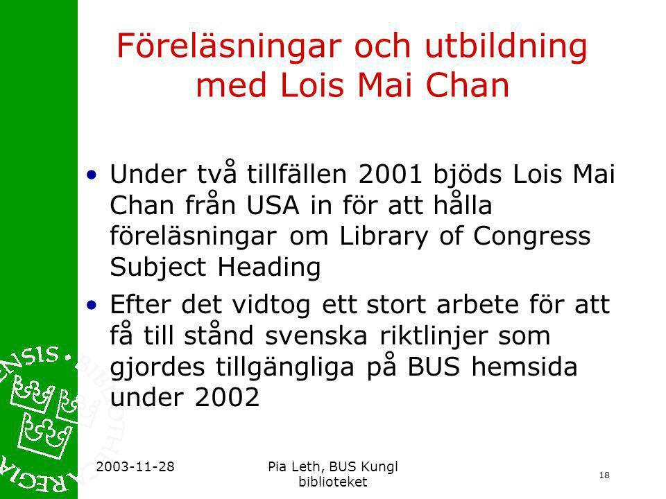 Föreläsningar och utbildning med Lois Mai Chan
