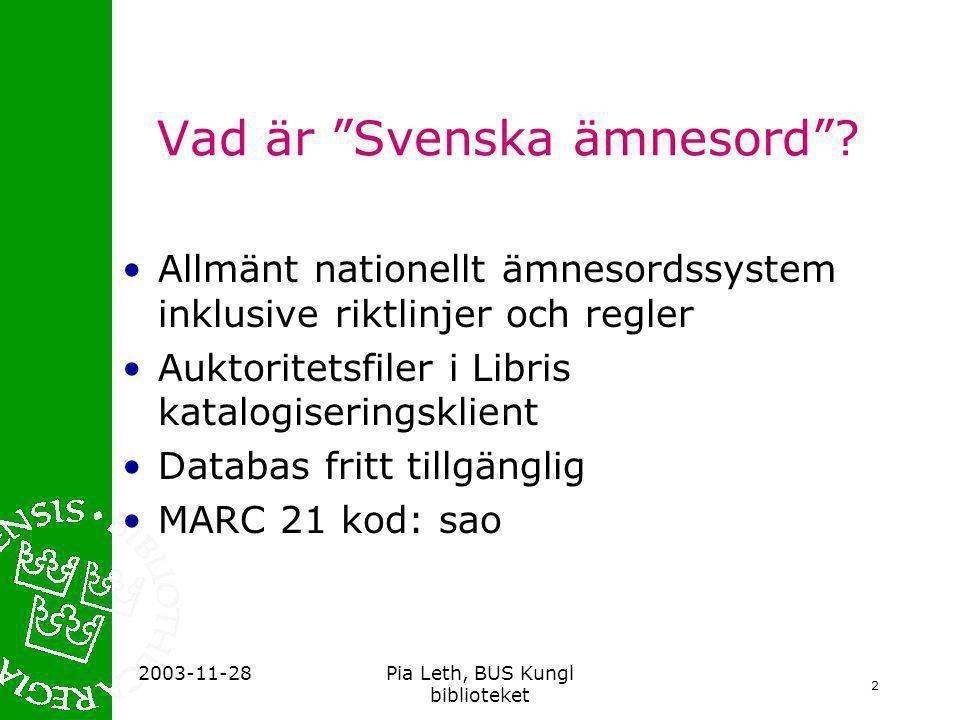 Vad är Svenska ämnesord