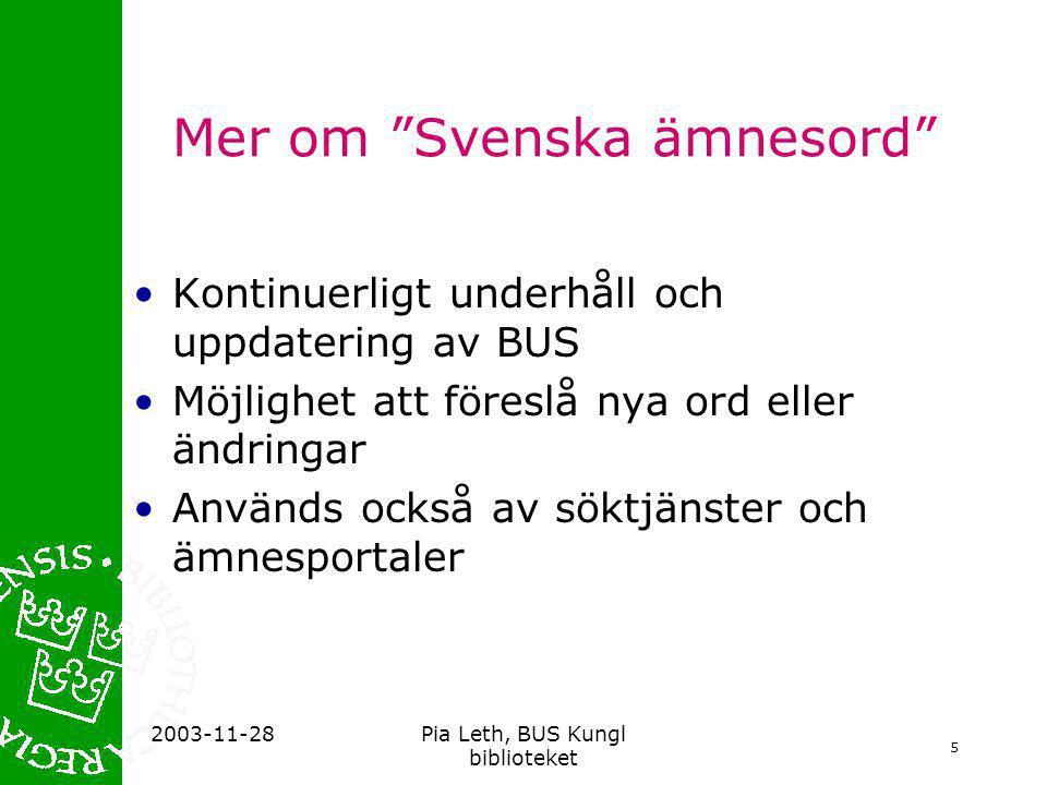 Mer om Svenska ämnesord