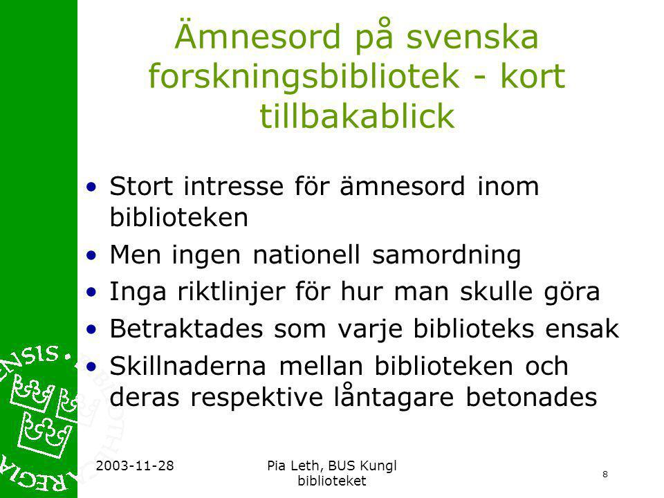Ämnesord på svenska forskningsbibliotek - kort tillbakablick