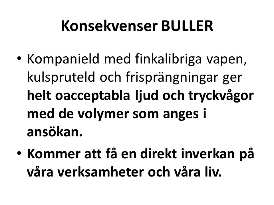 Konsekvenser BULLER